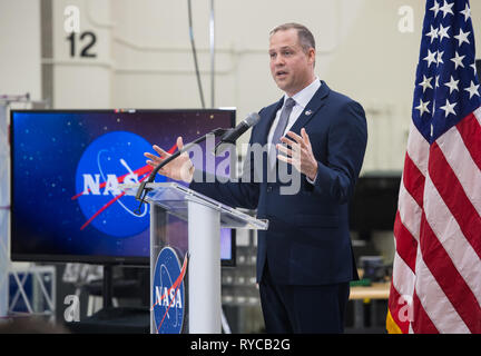 NASA Administrator Jim Bridenstine addresses employees on progress toward sending astronauts to the Moon and on to Mars during a televised event at the Kennedy Space Center March 11, 2019 in Cape Canaveral, Florida. - Stock Image