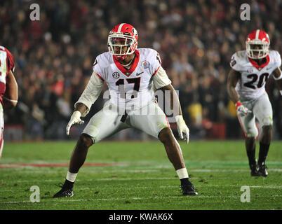 Pasadena, California, USA. 01st Jan, 2018. Georgia Bulldogs linebacker Davin Bellamy during the 2018 Rose Bowl semi - Stock Image