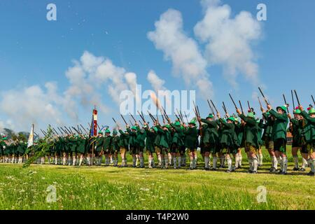 Mountain Riflemen, Corpus Christi Procession, Wackersberg, Isarwinkel, Tolzer Land, Upper Bavaria, Bavaria, Germany - Stock Image