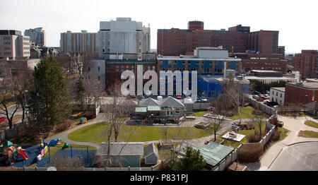 April 25 ,2018- Halifax, Nova Scotia: Looking down over the children's side playground of the IWK Hospital, and looking out over University Avenue wit - Stock Image