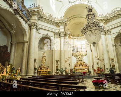 Nativity scene (left) in the Church of the Badia di Sant'Agata, City of Catania, Island of Sicily, Italy. - Stock Image