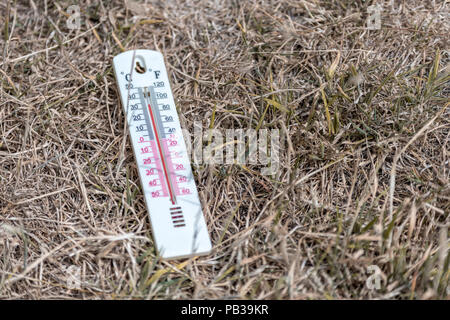 Poole, UK. 26th July 2018. A thermometer shows the hot temperature as the UK heatwave continues. Credit: Thomas Faull/Alamy Live News - Stock Image