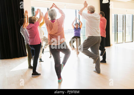 Active seniors exercising, practice yoga tree pose in circle - Stock Image