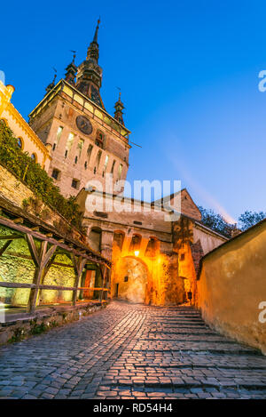 Sighisoara, Transylvania. Clock Tower and famous medieval fortified city in Romania. - Stock Image