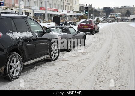 Weston super mare. UK. 2nd March, 2018. Almost impassable roads in the centre of town after heavy snowfall. Credit: - Stock Image