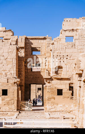 Luxor, Mortuary temple of Medinet Habu ruins. Egypt - Stock Image