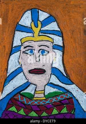 Child's art project: Pharaohs. - Stock Image