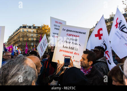 Paris, France. French LGBT Demonstration against Homophobia, Recent Anti-gay violence, human rights activists - Stock Image