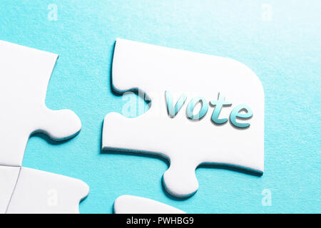 The Word Vote In Missing Piece Jigsaw Puzzle - Stock Image
