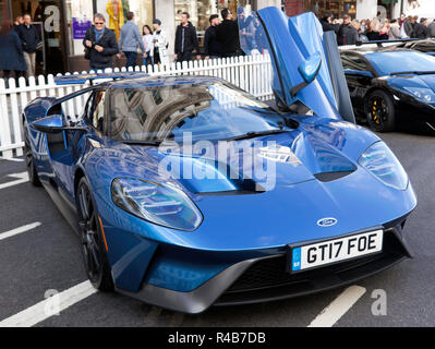 Three-quarter front view of a Ford GT40 2017 edition, on display, in the supercar paddock of the 2018 Regents Street Motor Show - Stock Image