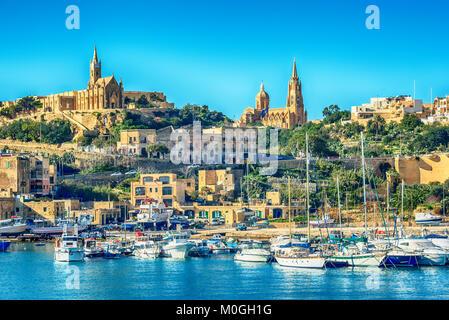 Malta: Mgarr, a harbour town in Gozo island, Mediterranean Sea - Stock Image