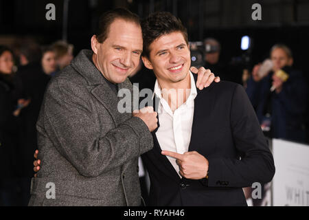London, UK. 12th Mar, 2019. LONDON, UK. March 08, 2019: Ralph Fiennes and Oleg Ivenko arriving for the premiere of 'The White Crow' at the Curzon Mayfair, London. Picture: Steve Vas/Featureflash Credit: Paul Smith/Alamy Live News - Stock Image