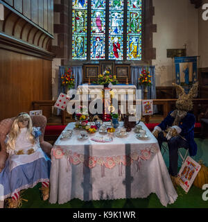 Pattingham Village, South Staffordshire, Saturday 23rd September, 2017. Mad hatters tea party in St.Chads Church - Stock Image
