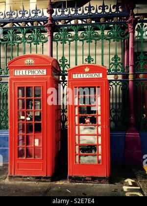 Two London phone boxes - Stock Image