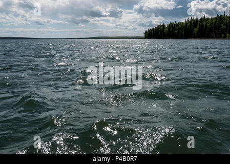 Sun sparkles on lake surrounded by forest, Dore Lake, Saskatchewan, Canada - Stock Image