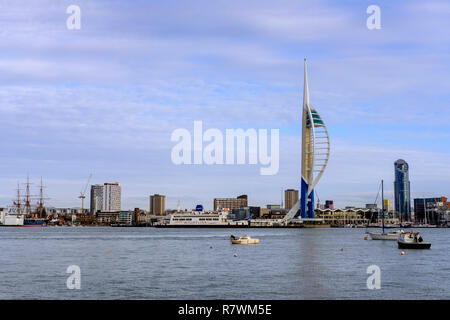Spinnaker Tower viewed from Gosport - Stock Image