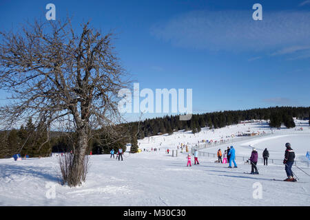 People ski at Rogla ski resort, Rogla  high plain, Pohorje, Slovenia. - Stock Image