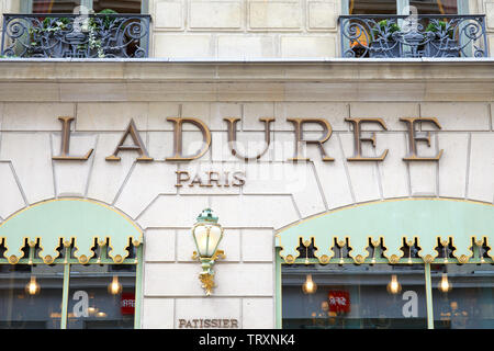 PARIS, FRANCE - JULY 22, 2017: Laduree famous confectionery store sign in Paris, France. - Stock Image