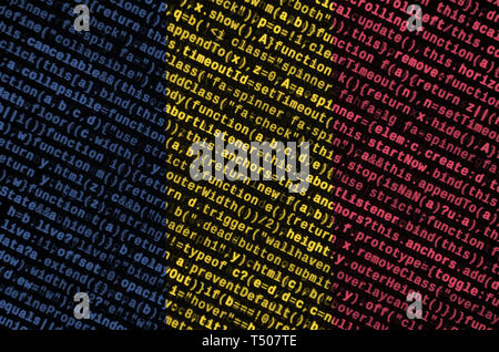Chad flag  is depicted on the screen with the program code. The concept of modern technology and site development. - Stock Image
