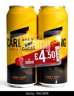 Carling apple cider 4 can pack - Stock Image