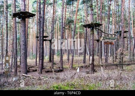 Kletterwald Schorfheide Germany - Rope Climbing course In a forest the Schorfheide-Chorin UNESCO biosphere area in Brandenburg - Stock Image