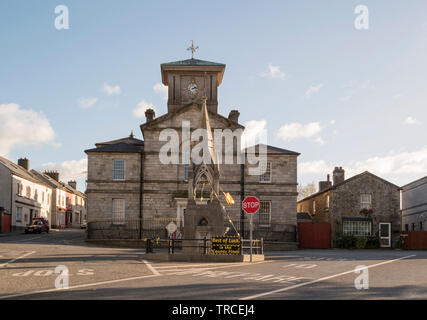 Image of buildings in the market square in Lismore,County Waterford,Ireland. - Stock Image