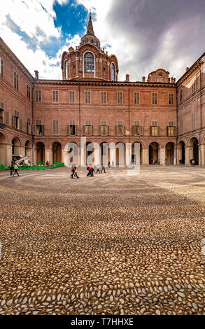 Italy Piedmont Turin Palazzo Reale - Courtyard with Sindon Chapelby Guarino Guarini - Stock Image