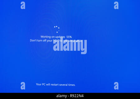 Computer PC Windows 10 blue update screen - Stock Image