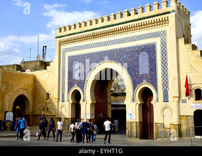 The Blue Gate, Fez, Morocco, North Africa. - Stock Image