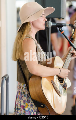 Busker Naomi Connell at Tamworth Country Music Festival 2019. - Stock Image