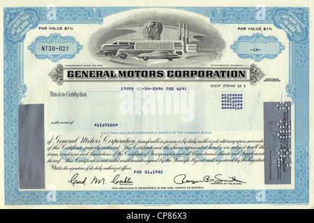 Historic share certificate, General Motors Corporation, GM, car company, Delaware, 1982, USA, Historische Aktie, - Stock Image