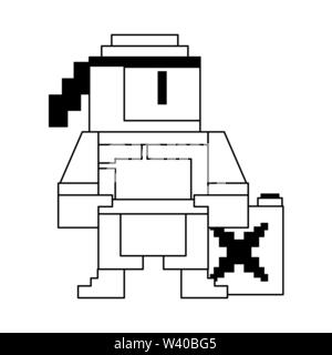Videogame pixelated ninja character symbol in black and white - Stock Image