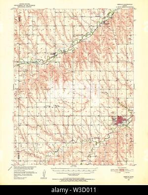 USGS TOPO Map Kansas KS Oberlin 512144 1951 62500 Restoration - Stock Image
