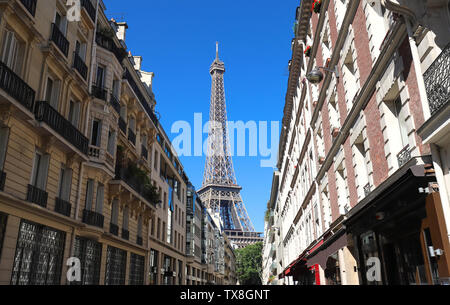 The Eiffel tower is the most popular travel place and global cultural icon of the France and the world. - Stock Image