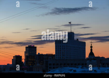 House of the Government at sunset, Moscow, Russia - Stock Image