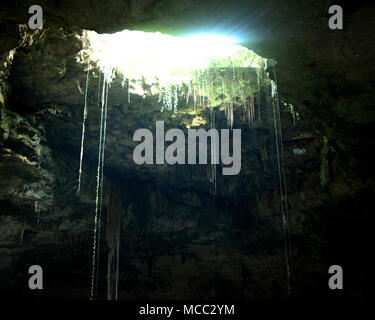 Sunlight shining through the roof of a cenote (sink hole) near the ancient (late classic period) Maya site of Chichén Itzá, Yucatán State, Mexico. - Stock Image