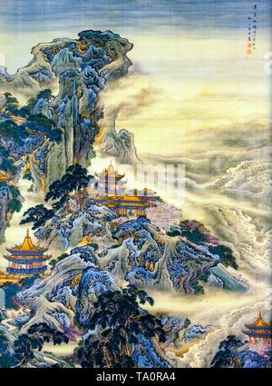 Mount Penglai, mythical Chinese island, landscape painting, Yuan Yao, 18th Century - Stock Image