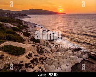 Aliki Marble Port and Beach at sunrise in Thasos, Greece - Stock Image