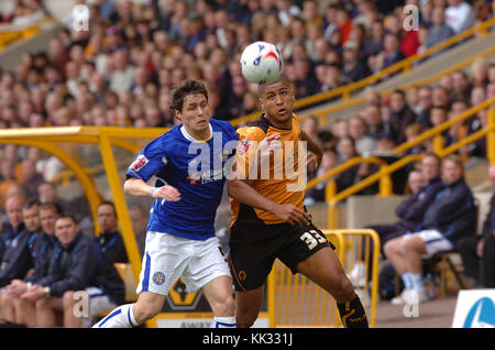 Footballer Leon Clarke and Patrick McCarthy Wolverhampton Wanderers v Leicester City 17/9/05 - Stock Image