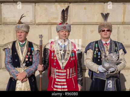 Polish Independence day parade dignitary and military setting up at Wawel Castel - Stock Image