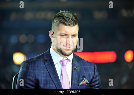Glendale, AZ, USA. 11th Jan, 2016. Tim Tebow with ESPN SEC Nationduring the 2016 College Football Playoff National - Stock Image