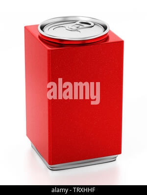 Cube shaped red soda can isolated on white background. 3D illustration. - Stock Image