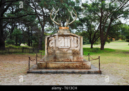 Sydney, Australia - 14 April 2019: Graveyards of Characters from popular TV show Game of Thones. Public unticketed event in Sydney centennial park wit - Stock Image