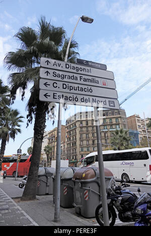 A Direction Information Street Sign For Drivers In Barcelona City Centre Directing Traffic To The Sagrada Família Cathedral - Stock Image