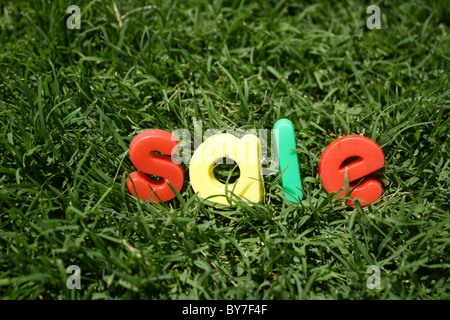 The word 'sale' spelled out in colourful plastic letters, on green grass, taken from a low angle - Stock Image
