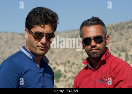 Group Portrait of two Iranian men, Chaharmahal and Bakhtiari province, Iran - Stock Image