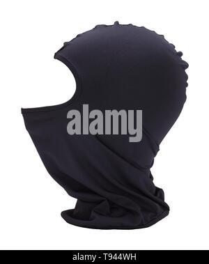 Black Fabric Ninja Mask Isolated on White Background. - Stock Image