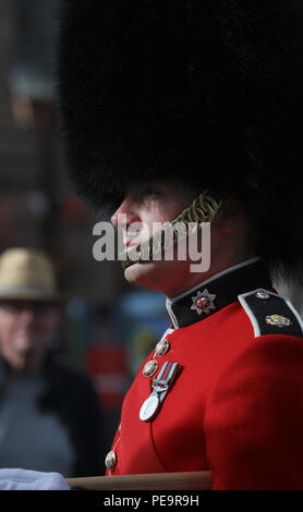 Coldstream Guardsman taking part in Coldstream Civic Week - Stock Image