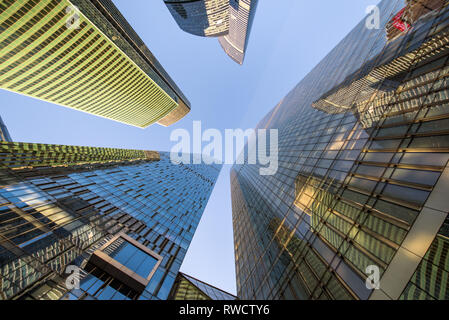 International Business Center Moscow City view from the bottom up - Stock Image