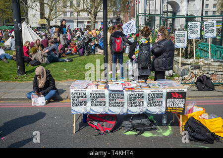 A Socialist Worker stall at the Extinction Rebellion demonstration at Marble Arch - Stock Image